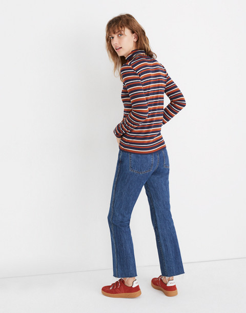 Fine Ribbed Turtleneck Top in Brendan Stripe in burnt sienna image 2