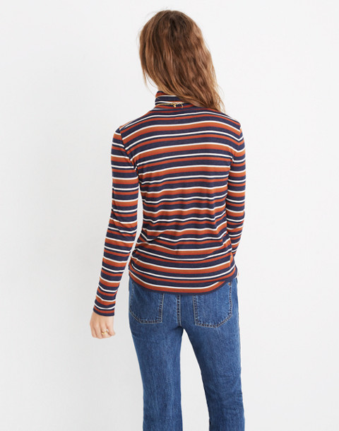 Fine Ribbed Turtleneck Top in Brendan Stripe in burnt sienna image 3