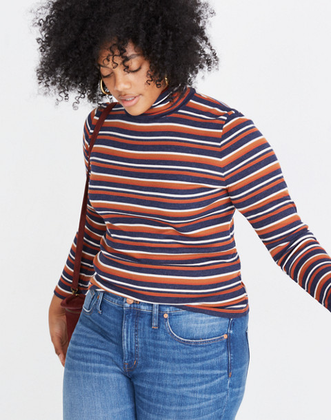 Fine Ribbed Turtleneck Top in Brendan Stripe in burnt sienna image 1