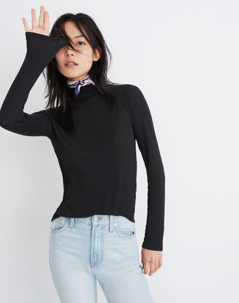 Fine Ribbed Turtleneck Top in true black image 2
