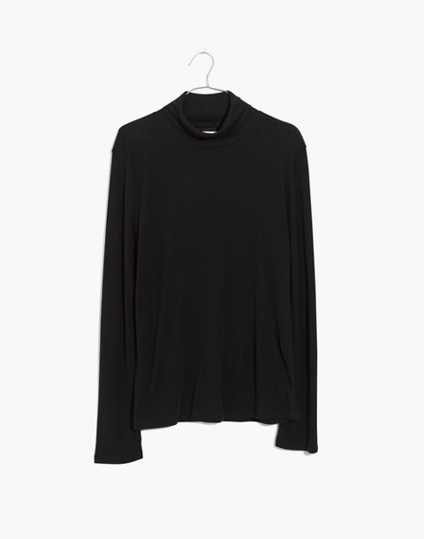 Fine Ribbed Turtleneck Top in true black image 4
