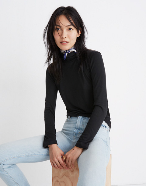 Fine Ribbed Turtleneck Top in true black image 1