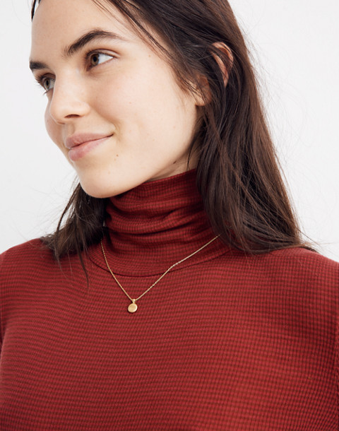 Fine Ribbed Turtleneck Top in Lesley Stripe in canterbury red duckling image 2