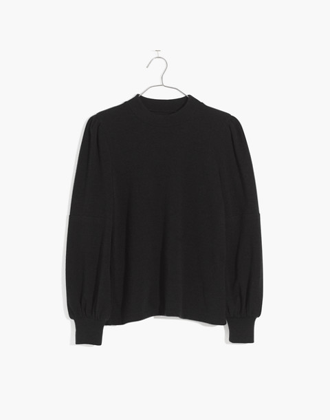 Puff-Sleeve Mockneck Top in true black image 4