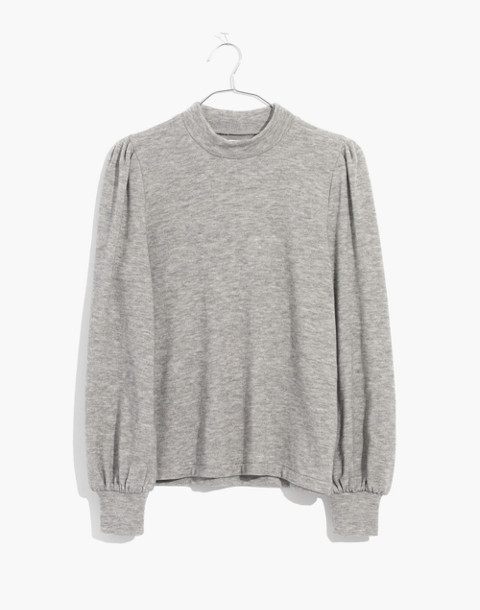 Puff-Sleeve Mockneck Top in heather gray image 1