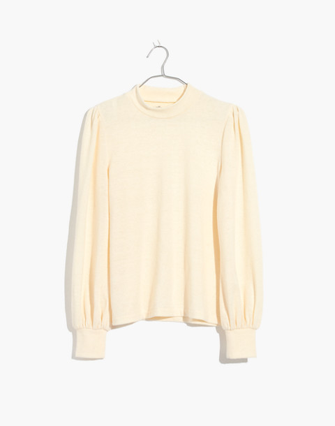 Puff-Sleeve Mockneck Top in antique cream image 1