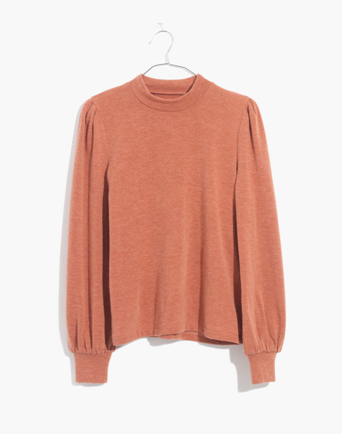 Puff-Sleeve Mockneck Top in afterglow red image 1