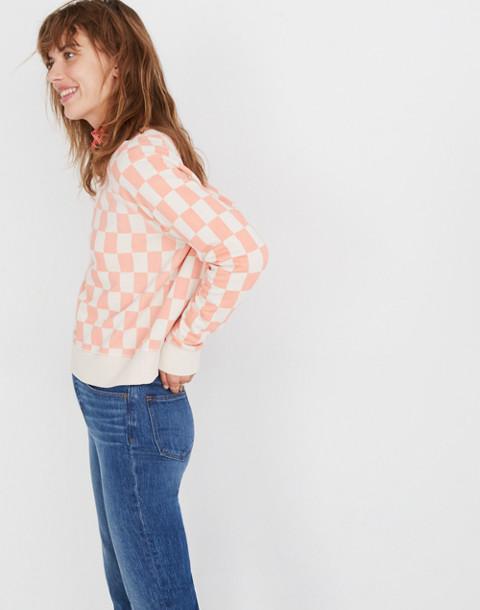 Checkerboard Shrunken Sweatshirt in light blossom checkerboard image 2