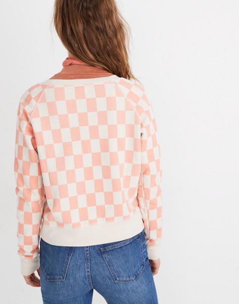 Checkerboard Shrunken Sweatshirt in light blossom checkerboard image 3