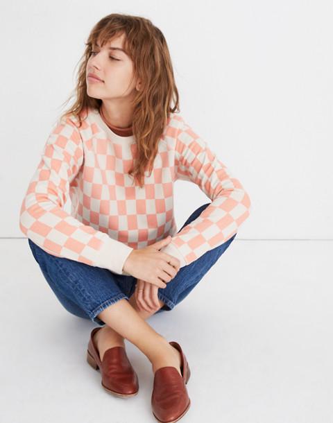Checkerboard Shrunken Sweatshirt in light blossom checkerboard image 1