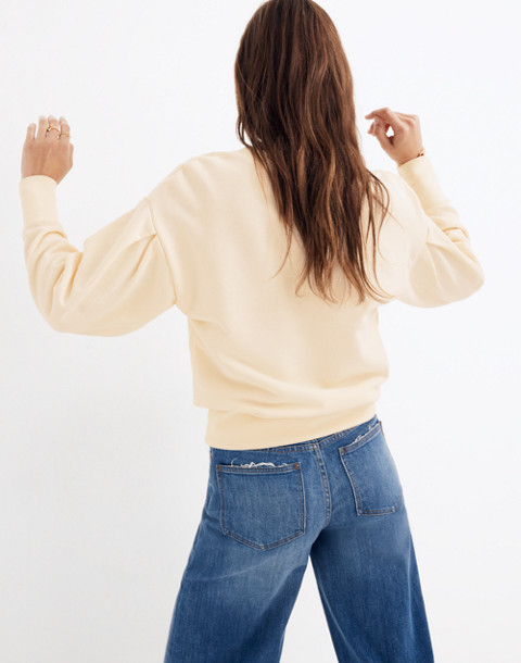 Pleat-Sleeve Sweatshirt in pearl ivory image 3