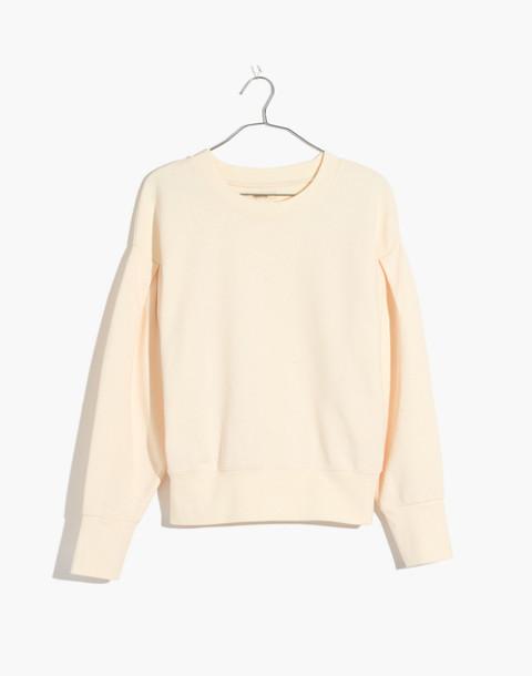 Pleat-Sleeve Sweatshirt in pearl ivory image 4