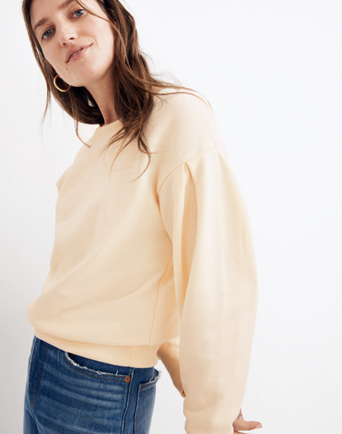 Pleat-Sleeve Sweatshirt in pearl ivory image 1