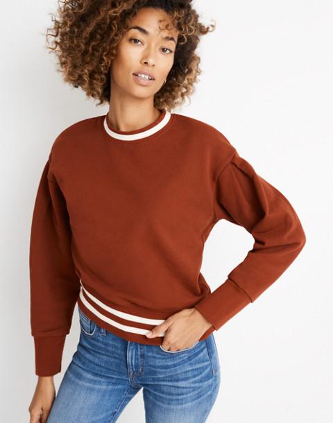 Varsity Stripe Pleat-Sleeve Sweatshirt in canterbury red image 2