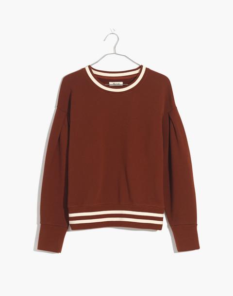 Varsity Stripe Pleat-Sleeve Sweatshirt in canterbury red image 4