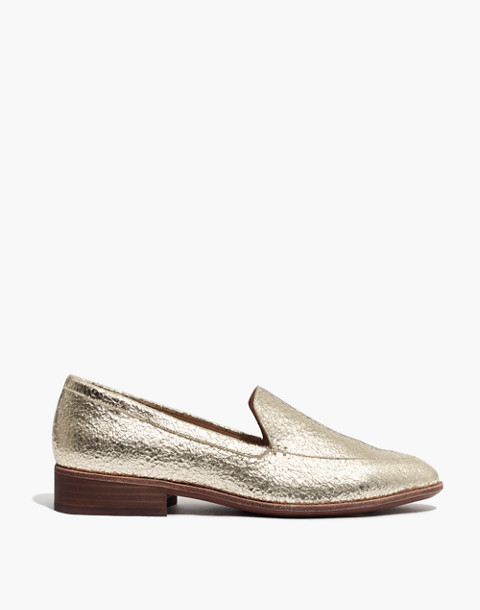 The Frances Loafer in Crackle Metallic in light gold metallic image 3