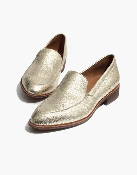 The Frances Loafer in Crackle Metallic in light gold metallic image 1