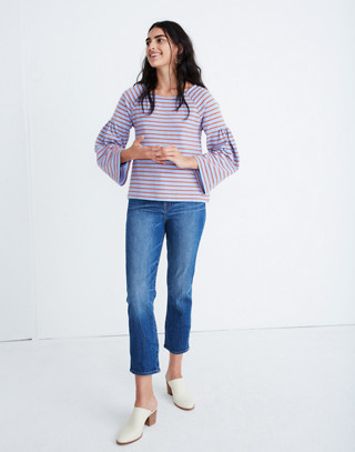 Shirred-Sleeve Sailor Top in fragile peri image 2