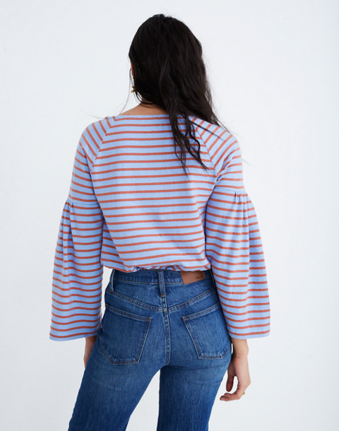 Shirred-Sleeve Sailor Top in fragile peri image 3