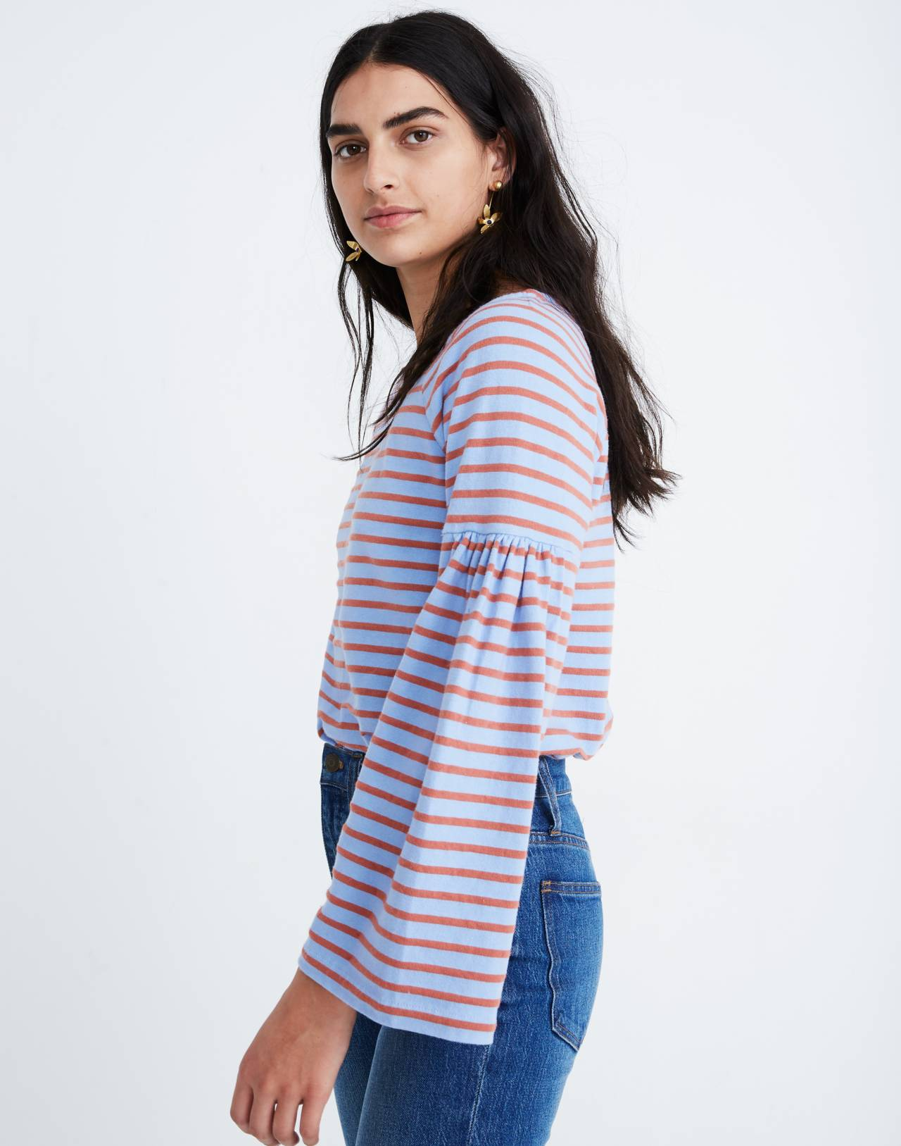 Shirred-Sleeve Sailor Top in fragile peri image 1