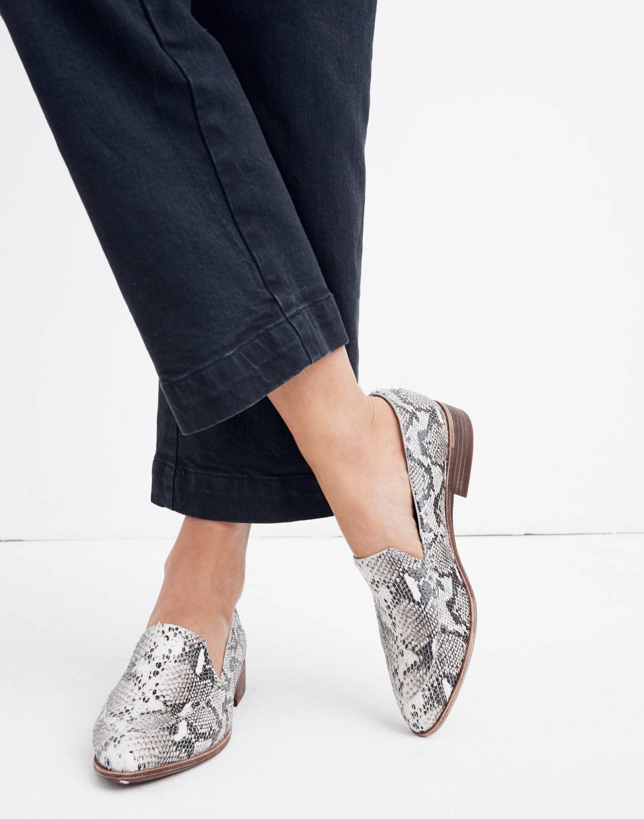 The Frances Loafer in Stamped Snake in pale muslin image 2
