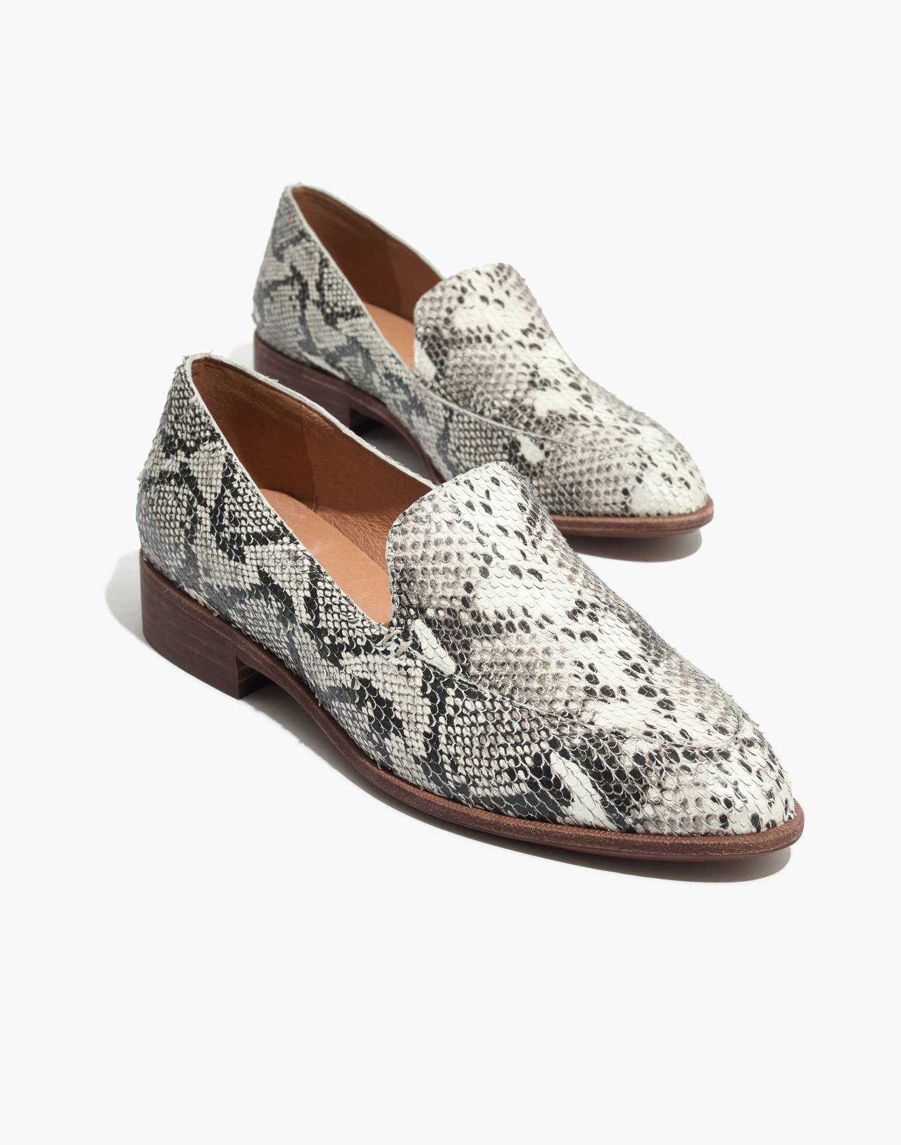 The Frances Loafer in Stamped Snake in pale muslin image 1
