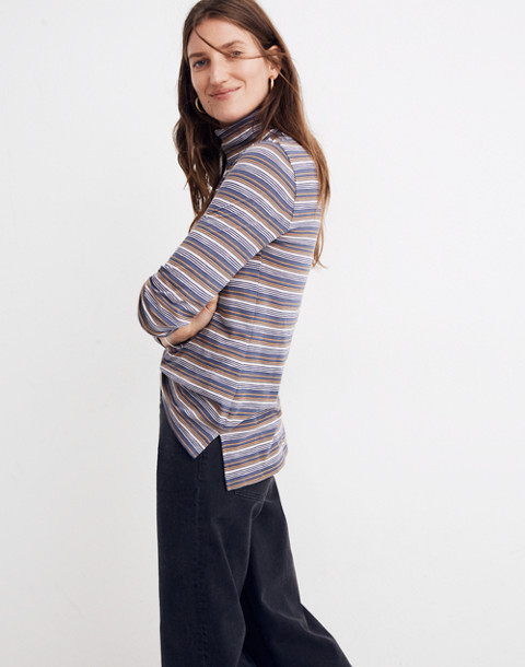Whisper Cotton Turtleneck in Nealy Stripe in wstria dove hummingbird image 2