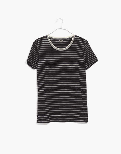 Whisper Cotton Ringer Tee in Jessie Stripe in true black dolphin stripe image 4