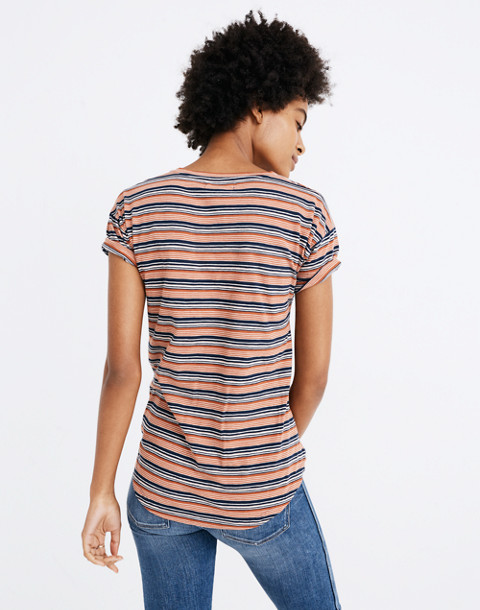 Whisper Cotton Crewneck Tee in Nealy Stripe in deep navy image 3