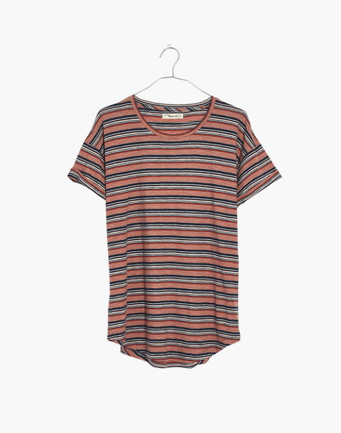 Whisper Cotton Crewneck Tee in Nealy Stripe in deep navy image 4