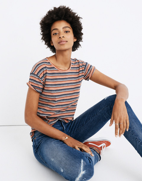 Whisper Cotton Crewneck Tee in Nealy Stripe in deep navy image 1