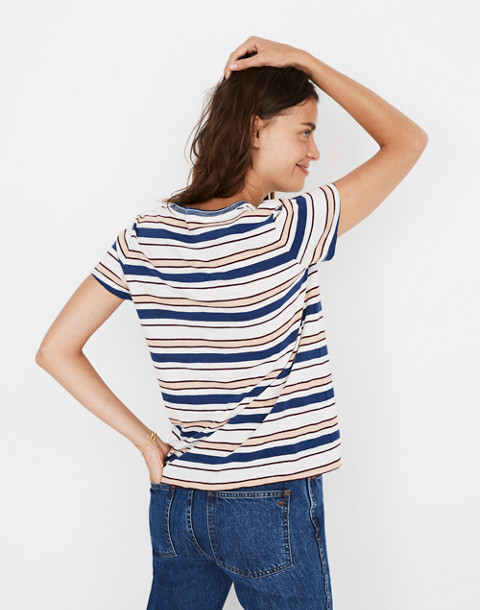 Whisper Cotton Ringer Tee in Victor Stripe in dark river image 3
