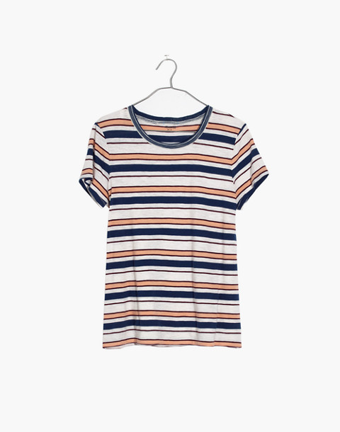 Whisper Cotton Ringer Tee in Victor Stripe in dark river image 4