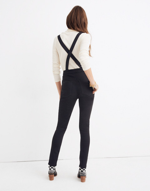 Skinny Overalls: Metallic Piping Edition in black frost image 3