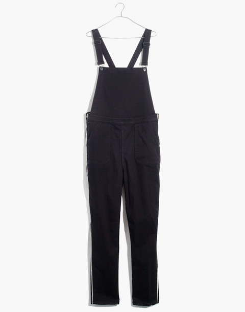 Skinny Overalls: Metallic Piping Edition in black frost image 4