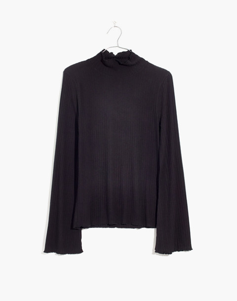 Ruffle-Edge Turtleneck Top in true black image 1
