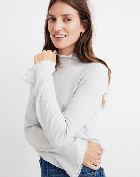 Ruffle-Edge Turtleneck Top in monument image 2