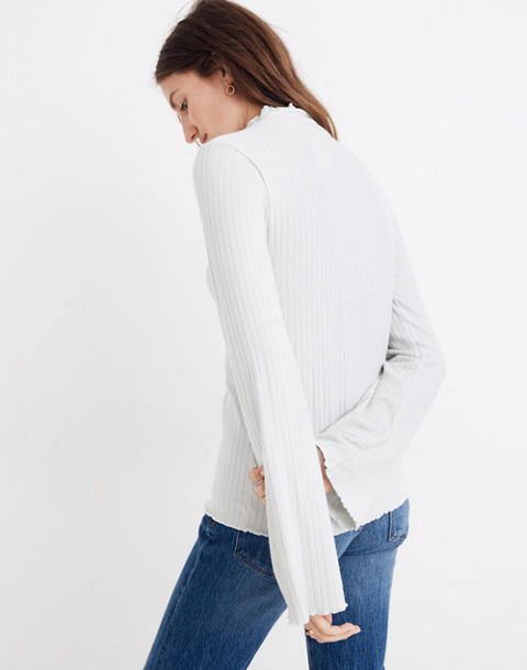 Ruffle-Edge Turtleneck Top in monument image 3