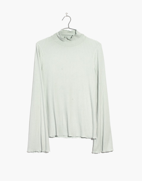 Ruffle-Edge Turtleneck Top in monument image 4
