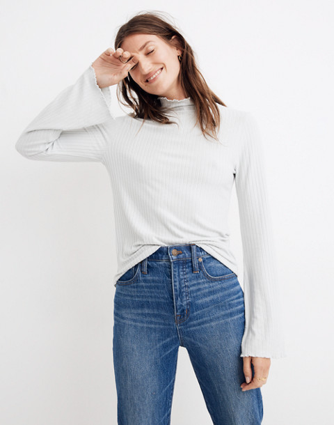 Ruffle-Edge Turtleneck Top in monument image 1