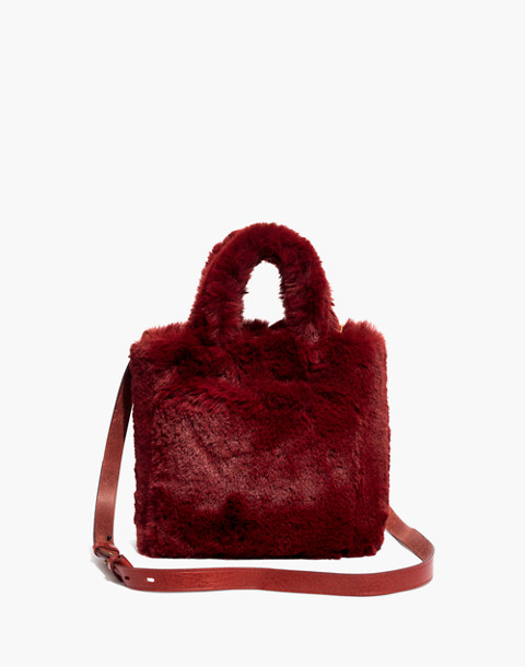 The Small Transport Crossbody in Faux Fur in canterbury red image 1