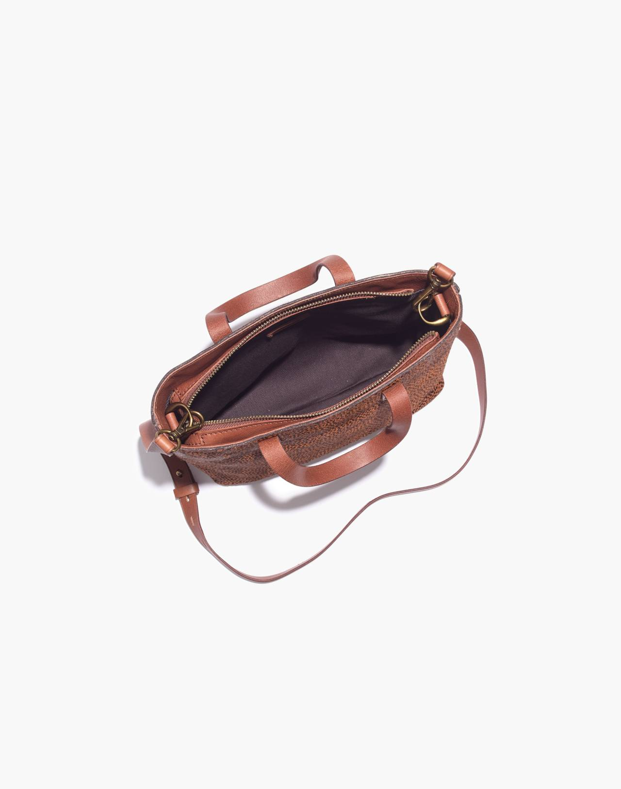 The Zip-Top Transport Crossbody in Spotted Calf Hair in bittersweet image 3