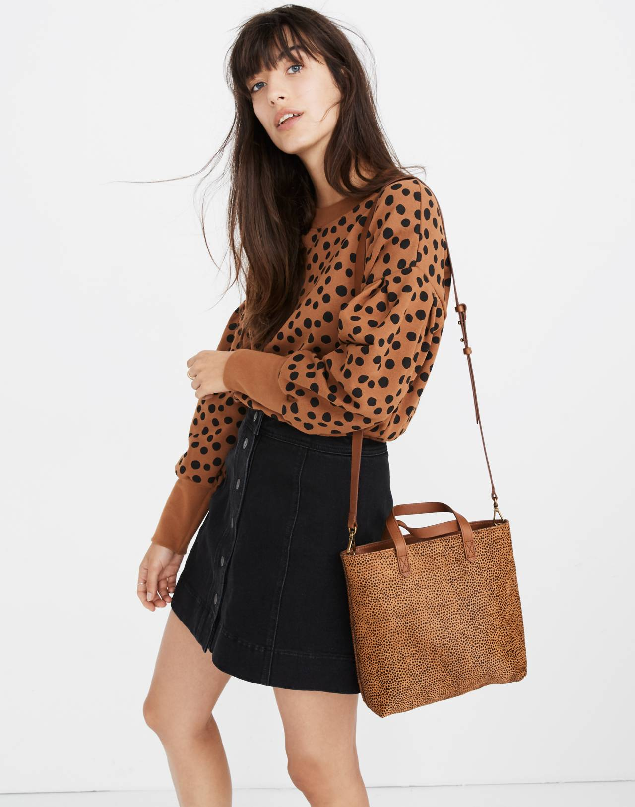 The Zip-Top Transport Crossbody in Spotted Calf Hair in bittersweet image 2