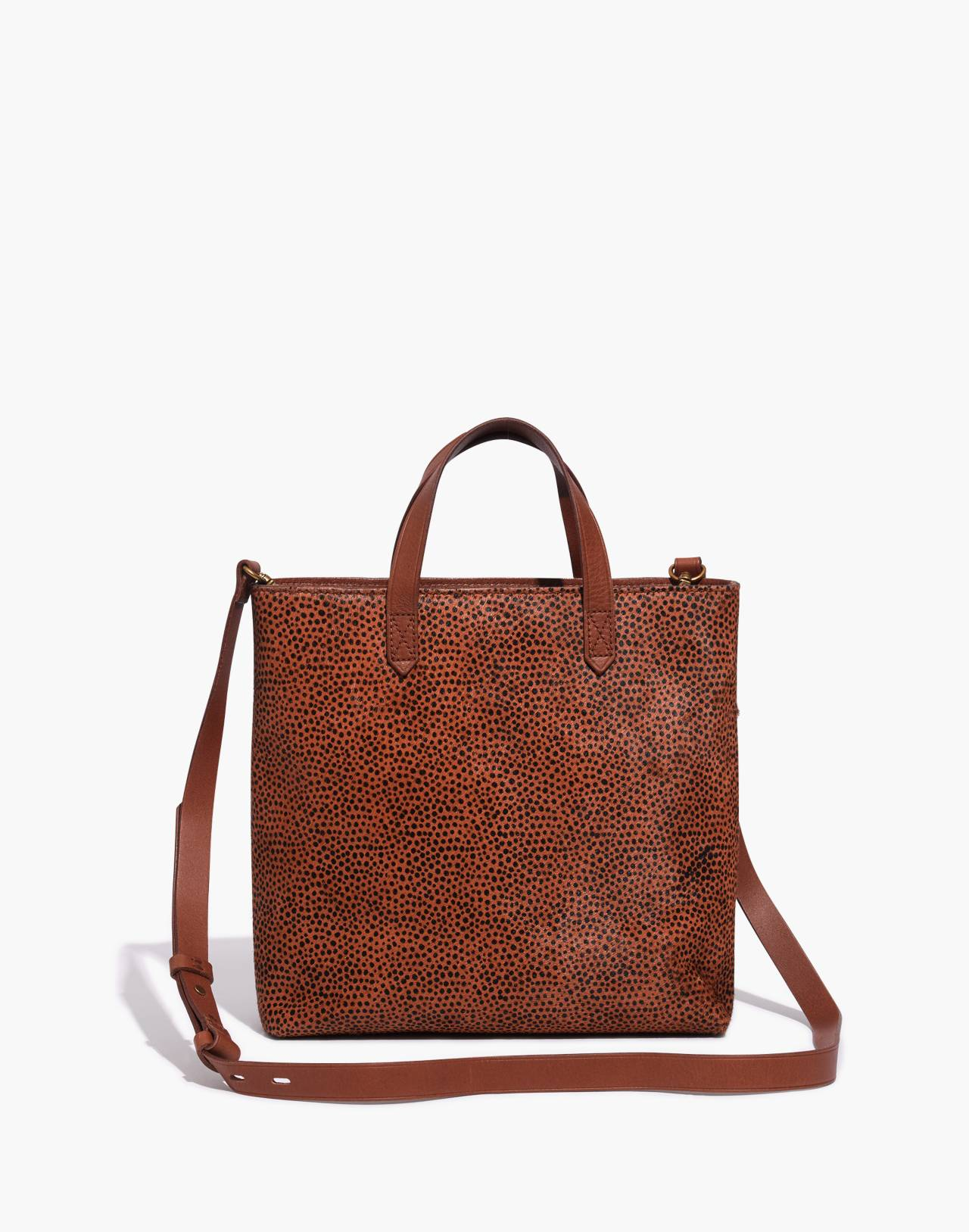 The Zip-Top Transport Crossbody in Spotted Calf Hair in bittersweet image 1