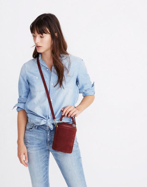 The Holland Binocular Bag in Nubuck Leather in dark cabernet image 2