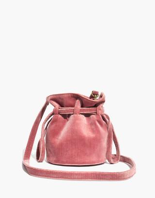 The Florence Drawstring Crossbody Bag in Velvet in autumn berry image 1