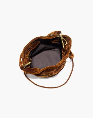 The Florence Drawstring Crossbody Bag in Velvet in burnished cedar image 2