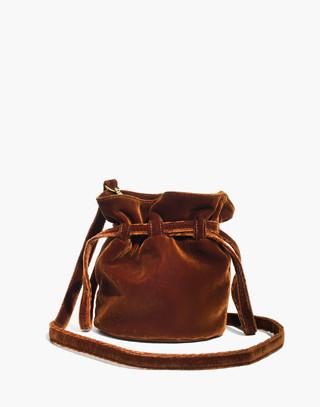 The Florence Drawstring Crossbody Bag in Velvet in burnished cedar image 1