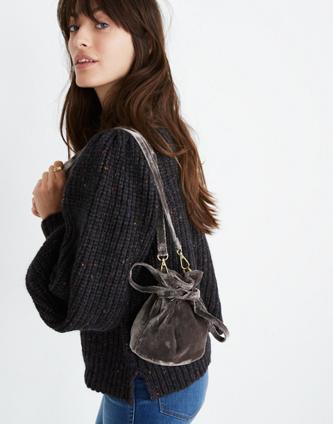 The Florence Drawstring Crossbody Bag in Velvet in hthr blackbird image 2