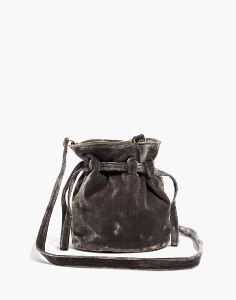 The Florence Drawstring Crossbody Bag in Velvet in hthr blackbird image 1